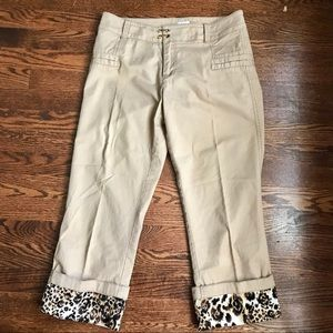 Cache Capri pants with animal print cuffs